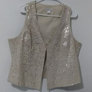 Christopher & Banks women's fully lined linen vest
